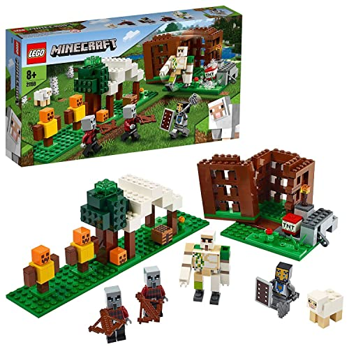LEGO 21159 Minecraft The Pillager Outpost Action Figures Building Set, Iron...