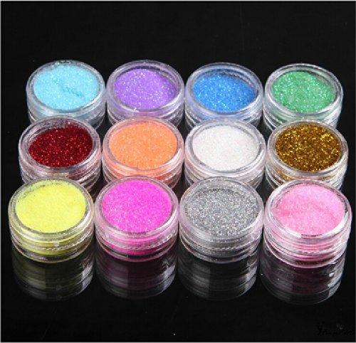 Métal Brillant Glitter poudre UV Kit Nail Art