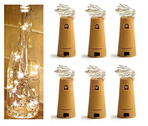 BQSHOP- Pack of 6, 15 LED Bottle Lights Fairy String LED Lights (Warm White)