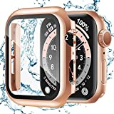 Recoppa for Apple Watch Case 40mm Series 6/SE/5/4 with Screen Protector, Waterproof Hard PC Ultra-Thin Bumper HD Clear Anti-Fog All Around Protective Cover for iWatch 40mm Rosegold