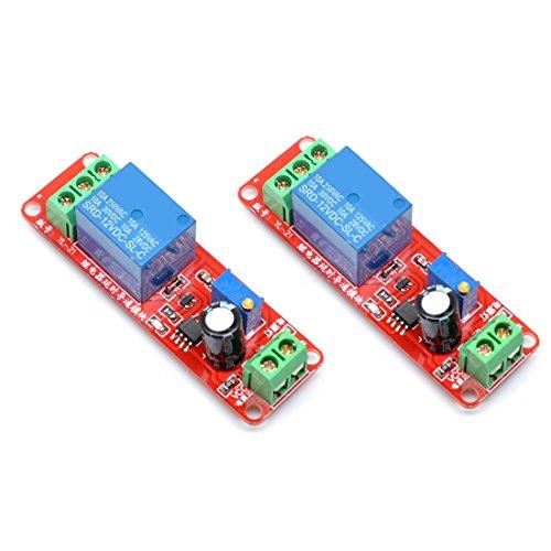 Willwin 2pcs 12V NE555 oscilador retardo Ajustable Temporizador relé Interruptor Módulo 0 – 10 Segundo 12V