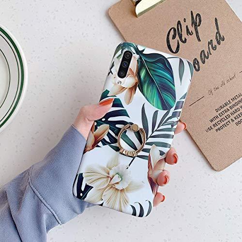 Herbests Funda Compatible con Samsung Galaxy A50, Funda de Silicona Suave Fundas de Flores Elegante Carcasa Ultra Delgada con Anillo Funda TPU Bumper Antishock,Blanco