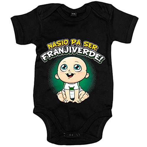 Body bebé nacido para ser Franjiverde Elche fútbol - Negro, 12-18 meses