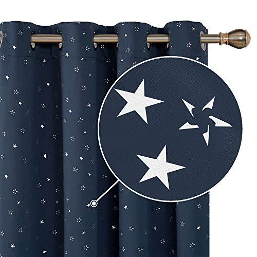 Deconovo Cortina Opaca con Ojales Diseño de Estrella Plateada 2 Paneles 140 x 240 cm Azul Marino