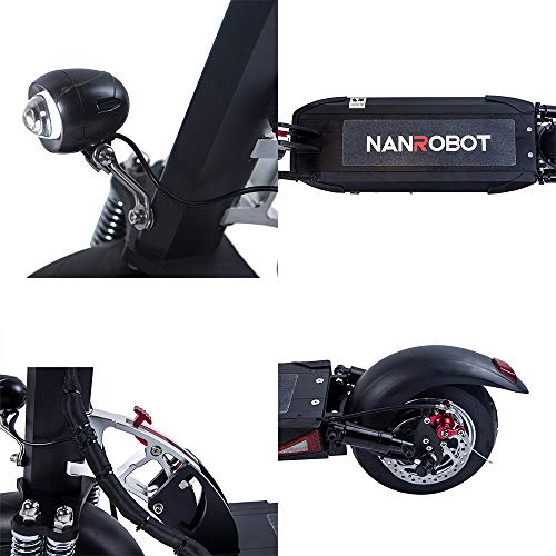 NANROBOT D5 +2.0 Double Drive High-Speed Adult Electric Scooter, 2000W Motion, Maximum Speed 40MPH, Sustainable 50 Miles, 10 inch Tire, Easy to Fold (D5+2.0 with seat)