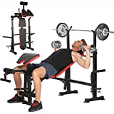 Folding Adjustable Olympic Weight Bench Power Tower Workout Dip Station with Preacher Curl Leg Developer Multi-Functional Weight Bench Set for Indoor Gym Home Fitness Exercise (Black)