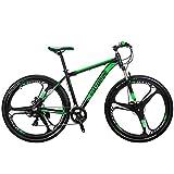 "29"" Mountain Bike Lightweight Aluminum Frame Front Suspension Daul Disc Brakes 21 Speed Mens Bicycle 29er MTB (Green)"