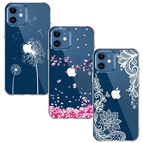 Yoowei [3-Pack] Funda para iPhone 12 Mini 5.4  Transparente con Dibujos Ultra Fino Suave TPU Silicona Protector Carcasa para iPhone 12 Mini (Flor de Cerezo + Flor Blanca + Diente de León)