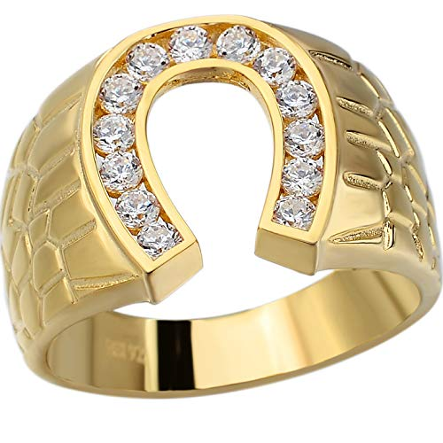 Solid 925 Sterling Silver - 14k Gold Plated - Lucky Horseshoe Ring - Mens Horse Shoe Ring Iced Out (11)