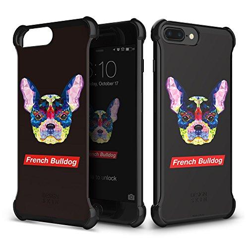 iPhone 7 Plus/iPhone 8 Plus Case DesignSkin [Corner] Shock Absorbing Ultra Slim Light Thin Protection Transparent Basic Back Bumper Case Minimalist Compatible w/iPhone 8+/7+/6s+/6+ (French Bulldog)