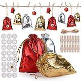 Herefun 24Pcs Bolsa Regalo Navidad(Oro, Plata, Rojo), Bolsa para Calendario de Adviento, Xmas Advent Calendars con 1-24 Pegatinas, Calendario Adviento Casero, DIY Decoración de Regalos
