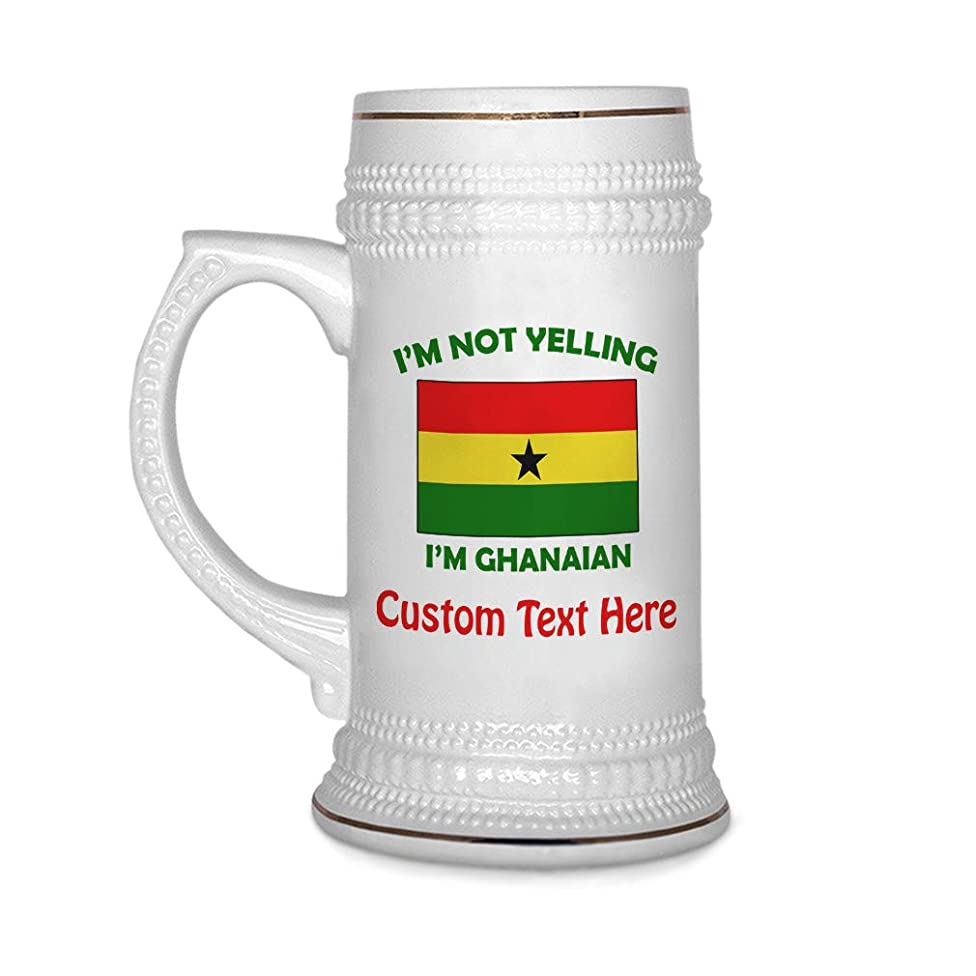 Custom Beer Mug I'M Not Yelling I Am Ghanaian Ghana Ceramic Drinking Glasses Beer Gifts White 18 OZ Personalized Text Here