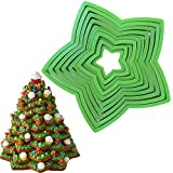 KAISHANE 10pcs 3D Christmas Tree Cookie Cutter Set-Star Cookie Cutters XMAS Decoration fondant donut Cookie cutters kit for Christmas Tree gift cookie tower