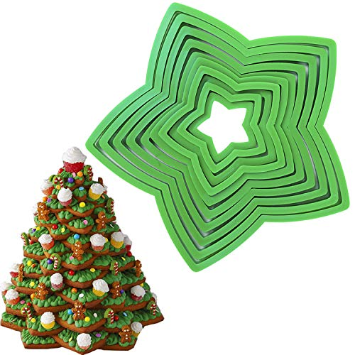 Christmas Star Cookie Tree Cutter Set -10pcs Star Cookie Cutters Xmas Decoration Fondant Donut Cookie Cutters kit for Christmas Tree Gift Cookie Tower