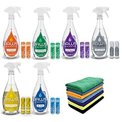 JAWS Cleaners Ultimate Cleaning Kit, Multi-Surface Kitchen, Glass, Shower, Granite, Hardwood Floor and Disinfectant, 2 Refill Pods of Each, Includes Microfiber Cloths
