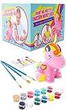 GirlZone Regalos para Niñas - Hucha Unicornio para Pintar - Kit Pintura para Niñas y Accesorios Infantiles -Pinceles, Colores y Gemas 3 a 12 años Cumpleaños y Fiestas