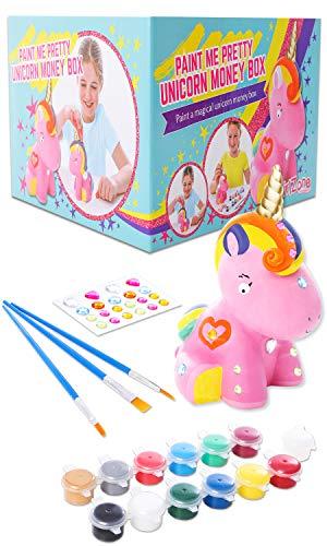 GirlZone Geschenke für Mädchen -Spardose Einhorn zum Basteln und Malen - Bastelset für Mädchen mit Pinseln, Malfarben, Schmucksteinen und Stickern Sparschwein Kinder 4-12