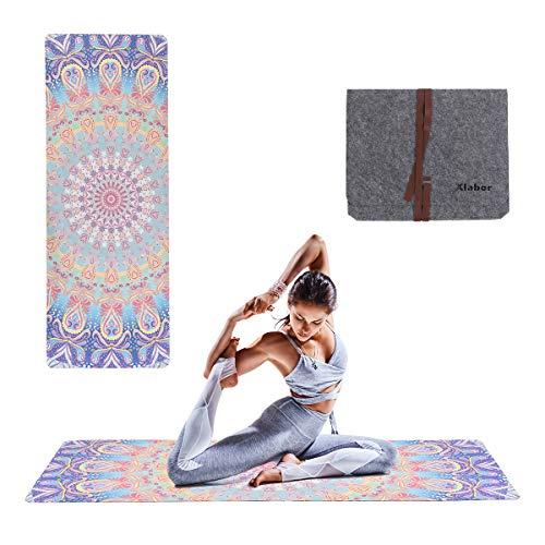 Xlabor Mandala - Esterilla de pilates con fieltro (1,5 mm de grosor, 183 x 68 cm), diseño de D