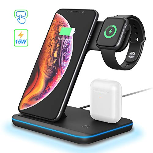 POWERGIANT Caricatore Wireless 3 in 1 Ricarica Wireless Supporto di Caricabatterie Senza Fili Docking per iPhone 12 Pro/12/11 PRO/XS/XR/X/8 e AirPods Pro/2/1 Apple Watch 6/5/4/3/2/1