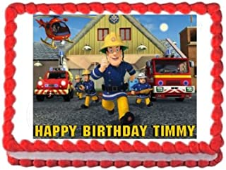 Unbranded Fireman SAM Party Decoration Edible Cake Image Cake Topper Frosting Sheet Birthday