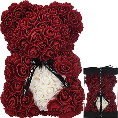 Oso de Rosas Flores Artificiales Peluche Oso - Regalos Originales para Mujer Regalo Mujer Novias Regalo Madres Regalos Mujeres Rosas Artificiales Aniversario cumpleaños de San Valentín (borgoña)