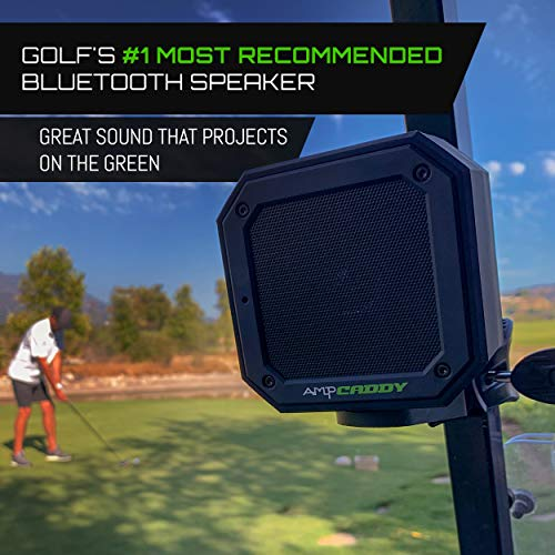 Golf Bluetooth Speaker with Mount, Ampcaddy Version 3 Pro Bluetooth Speaker and Mount with Loud Stereo Sound and Bass Boost, 20-Hour Playtime, Extended Bluetooth Range, Waterproof (15 Watts)