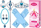 Princess Dress Up Accessories 9 Pcs Princess Jewelry Toys Girl Toys Princess Accessories for Girls Crown Bracelet Ring Earring Necklace Wand Crown Birthday Gifts Party Favors for Kids Party Supplies