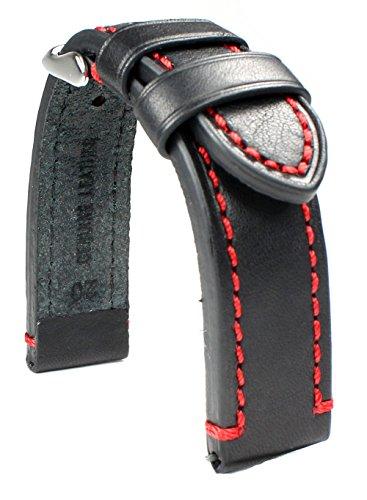 Sulla 20mm Herren Leder Uhrenarmband Catalonia Pilotband Schwarz rote Naht