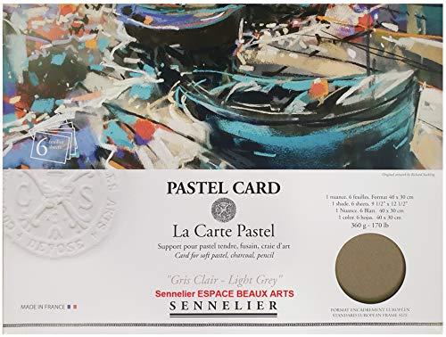 Tarjeta Sennelier Pastel Sec (papel de lija de grano fino) Bolsa 30x40cm 6 hojas Gris claro - Gris claro. 360gs