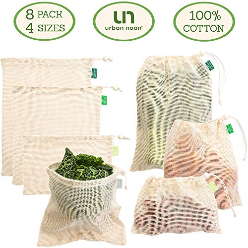 Cotton Produce Bags - Reusable Mesh Produce Bags - 4 Sizes in Set of 7  1 Muslin Storage Bag - Strong - Durable - with Drawstring - Tare Weight on Tag - for Grocery Shopping and Storage