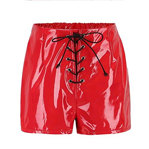 FASZFSAF Pantalones Cortos De Cuero SintéTico Moda para Mujer, Minnie Ajustados Sexis Cintura Alta con Cordones Rojos y Negros,Rojo,XXXXL