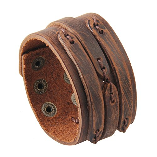 GelConnie Brown Leather Cuff Bracelet Punk Belt Braided Wrap Bracelet Viking Bangle Handmade Woven Wristband for Women, Men LPB005