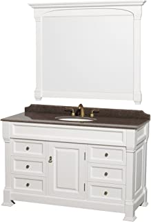 Wyndham Collection Andover 55 inch Single Bathroom Vanity in White, Imperial Brown Granite Countertop, Undermount Oval Sink, and 50 inch Mirror
