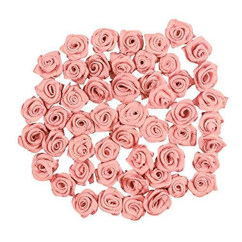 Ideen mit Herz Satinrosen | 50 Stück | Ø 1,5 cm | Deko-Rosen, Mini-Stoffrosen, kleine Rosenköpfe zum Basteln, Aufnähen, Dekorieren | Blumen-Applikationen, Tischdeko, Streudeko, Hochzeit (rosé)