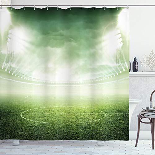 ABAKUHAUS Grün Duschvorhang, Stadion Arena Fußball, mit 12 Ringe Set Wasserdicht Stielvoll Modern Farbfest & Schimmel Resistent, 175x220 cm, Grün