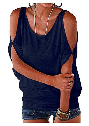 iMixCity Verano Camisas De Hombro Frío Blusas Tops del Batwing Camisetas sin Mangas Camiseta Casual Camiseta para Mujer (3XL, Azul Oscuro)