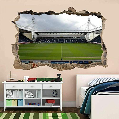 Wall Sticker 3D Football Stadium 15.7x23.6inch(40x60cm) Self-Adhesive Removable Break Through the Wall Vinyl Decor