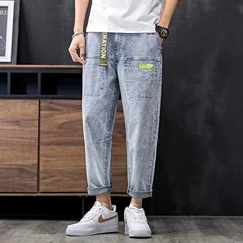Vaqueros para Jeans Hombres Pantalones Sueltos De Pierna Ancha Pantalones Vaqueros De Color Claro Hombres Pies Rectos Harlan Versión Coreana