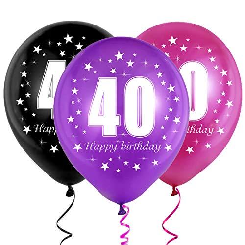 Bluelves 40 Ans Ballon Anniversaire, Ballon Chiffre 40, 40 Déco Anniversaire, Anniversaire 40 Ans Hommes Femmes Décoration, Violet Noir Ballon Latex pour la Décoration d'anniversaire Décoration
