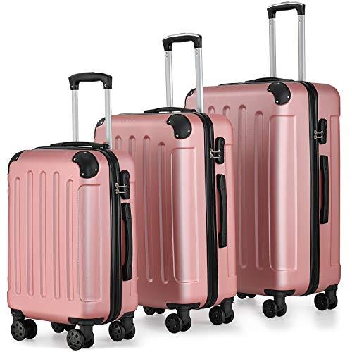 Juskys Hartschalen-Koffer Set Yara 3-teilig – 3 Trolley mit Schloss, Griff und 360° Rollen – rosé - Reisekoffer Hartschale leicht