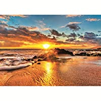 5DDIYダイヤモンド刺繡波と日の出クロスステッチモザイク風景正方形ダイヤモンド装飾30x40cm