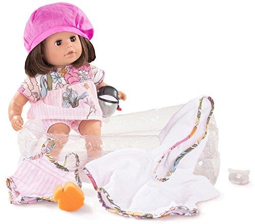 Götz 1616060 Cosy Aquini Jungle Badepuppe - Puppe mit braunen Haaren, braunen Schlafaugen in einem 10-teiligen Set - 33 cm Mädchen-Babypuppe