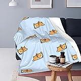 FeHuew Cartoon Cute Sleep Corgi Cute Blue Soft Throw Blanket 40x50 inch Lightweight Warm Flannel Fleece Blanket for Couch Bed Sofa Travel Camping for Kids Adults