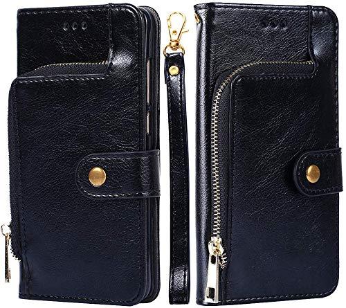 Kompatibel mit Huawei P8 Lite 2017 Hülle Tasche Premium PU Leder HandyHülle Magnetische Flip Hülle Cover Retro Klapphülle Lederhülle mit Reißverschluss Brieftasche Schutzhülle mit Kartenfach - Schawrz