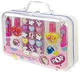 POP GIRL Mini Beauty Case Set - Mini Maletín de Maquillaje - Set de Maquillaje para Niñas Completo para Labios, Ojos y Uñas en un Mini Bolso Rosa Transparente - Juguetes Niñas - Neon Purple