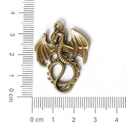 NOLOGO Gxbld-yy Los nuevos encantos Manera de la antigüedad Bronce Plateado de aleación de Zinc dragón Serpiente Collar Colgante de joyería de Bricolaje Que Hace el Arte 10 Selección Estilo