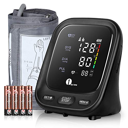 1byone Tensiómetro de Brazo, 1byone Aparato Tension Arterial con Pantalla LED y Altavoz, 2 Memorias de Usuario(2 * 90), Detección de Frecuencia Cardíaca Irregular, Validado Clínicamente
