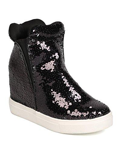 Cape Robbin Women Sequin High Top Hidden Wedge Sneaker GB22 - Black (Size: 10)