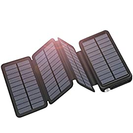 Solar Charger 25000mAh ADDTOP Portable Solar Power Bank with Type-C Input for Smart Phones, Tablets, Laptop and Outdoor… 1 High capacity : with 25000mah high capacity ,can charge your devices many times Dual USB Output: It can charge 2 devices simultanuously. A 2000mAh phone can be fully charged in about 1-1.3hr. Using USB-A to USB-C cable can charge your laptop. 6W Solar Powered: The current is up to 1A when in full sun. At outdoors, you can hang it on your backpack to charge anytime. It also can be charged faster via USB and Type-C cable.