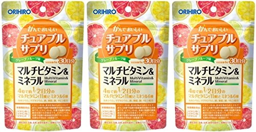オリヒロ かんでおいしいチュアブルサプリ マルチビタミン&ミネラル 30日分×3個セット